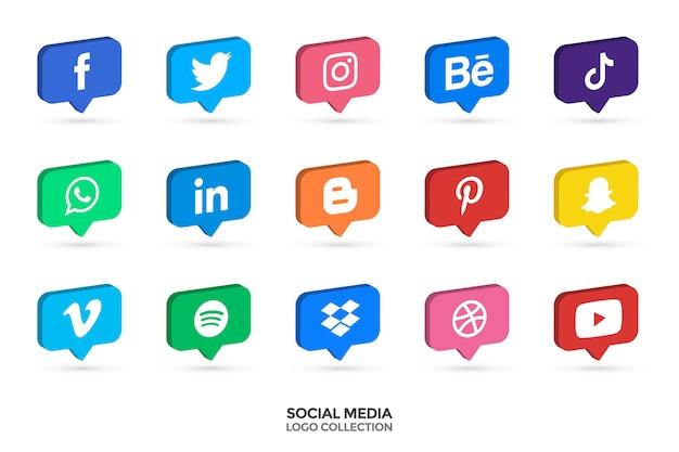 Raccolta di loghi di social media. 3d icone vettoriali. illustrazione vettoriale.