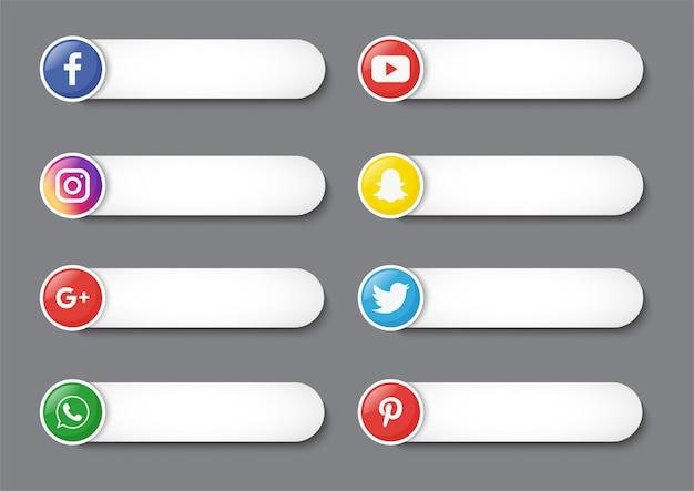 Raccolta di social media terzo inferiore isolato su sfondo grigio.