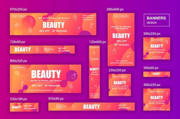 Raccolta di banner web di social network di diverse dimensioni per annunci di bellezza