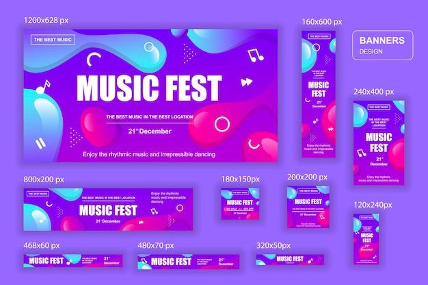 Raccolta di banner web di social network di diverse dimensioni per annunci musicali