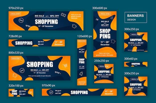 Raccolta di banner web di social network di diverse dimensioni per annunci di shopping