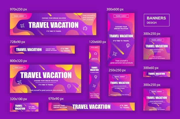 Raccolta di banner web di social network di diverse dimensioni per annunci di agenzie di viaggio