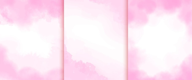 Raccolta di morbido sfondo acquerello rosa astratto Vettore Premium