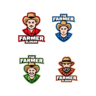 Raccolta del fumetto di progettazione dell'icona di logo del carattere dell'agricoltore del sudamerica