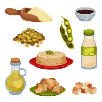 Raccolta di prodotti di soia su sfondo bianco.