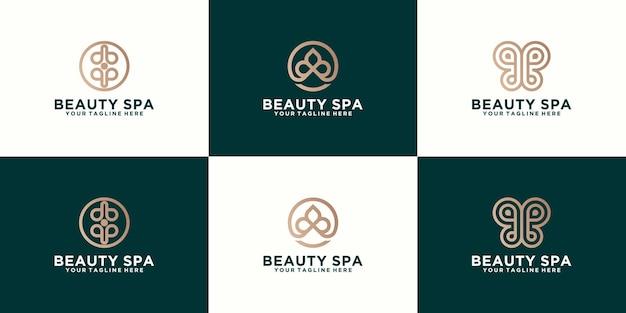 Collezione di loghi spa e beauty con linee di lusso