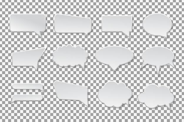 Raccolta di bolle di discorso sullo sfondo trasparente.