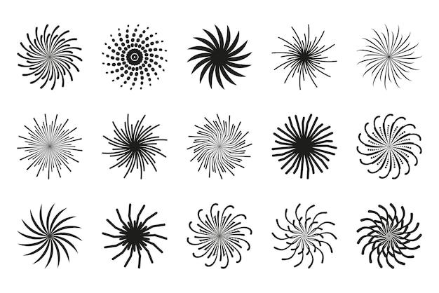 Collezione di spirali disegno circolare di turbinii in movimento