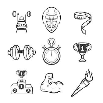 Collezione di icone dello sport. equipaggiamento sportivo. le icone hanno impostato su priorità bassa bianca.