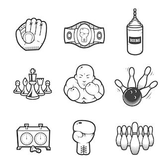 Collezione di icone dello sport. equipaggiamento sportivo. le icone hanno impostato su priorità bassa bianca. Vettore Premium