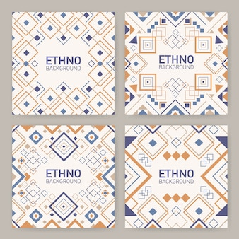 Raccolta di sfondi quadrati con ornamenti geometrici aztechi tradizionali, cornici decorative o bordi.