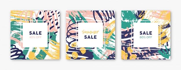 Raccolta di modelli di carte quadrati con macchie di vernice colorata brillante astratta, macchie, gocce, scarabocchi, pennellate