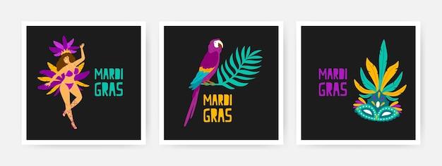Collezione di carte quadrate mardi gras decorate da pappagallo esotico seduto sul ramo di un albero tropicale, ballerino, maschera festiva