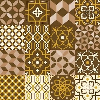Collezione di piastrelle quadrate decorate con vari motivi o ornamenti. fascio di decori ornamentali con motivi floreali orientali e trame a intreccio. illustrazione vettoriale piatto decorativo