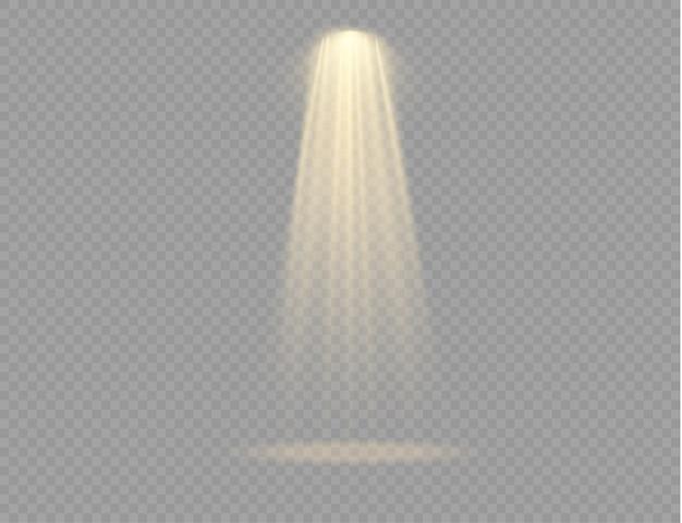 Collezione di faretti di illuminazione scenica, scena, ampia collezione di illuminazione scenica, effetti di luce del proiettore, illuminazione gialla brillante con faretti, luce spot isolata su sfondo trasparente.