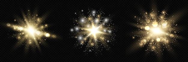 Collezione di stelle scoppiate bagliore con scintillii