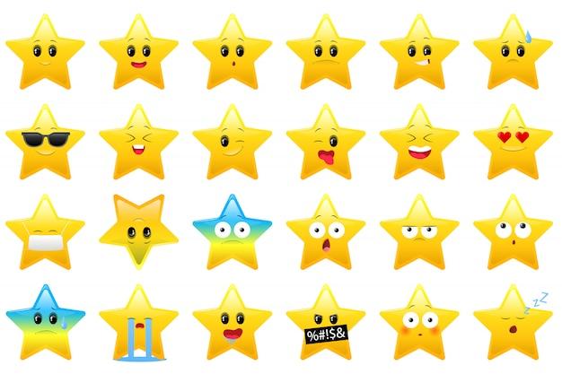 Collezione di icone di stelle per bambini, adesivi