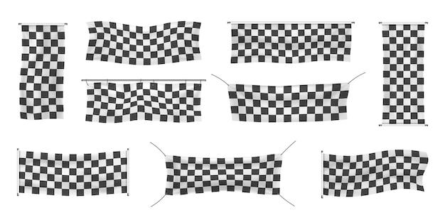 Raccolta di partenza e bandiera sportiva a scacchi