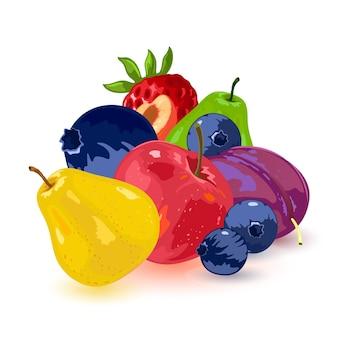 Raccolta di cibo estivo, pera verde e gialla, prugna, mela, albicocca, fragola e mirtillo.