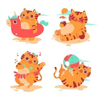 Collezione di adesivi gattino estivo