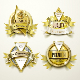 Collezione di sontuosi set di design di etichette in oro e gioielli