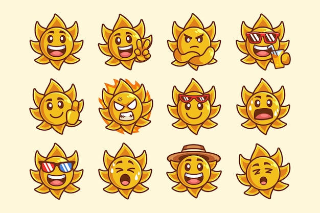 Collezione di personaggi dei cartoni animati del sole