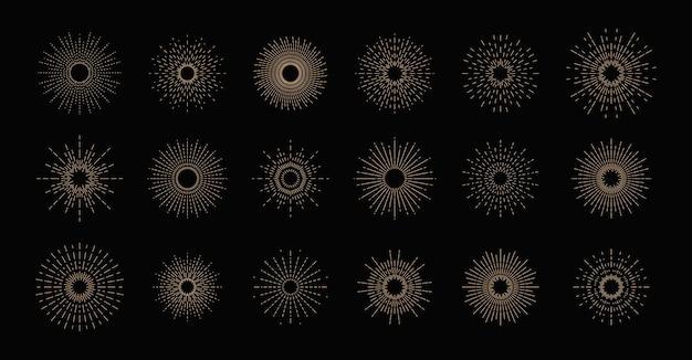 Collezione di sprazzi di sole, effetti di esplosione, fuochi d'artificio, raggi neri.