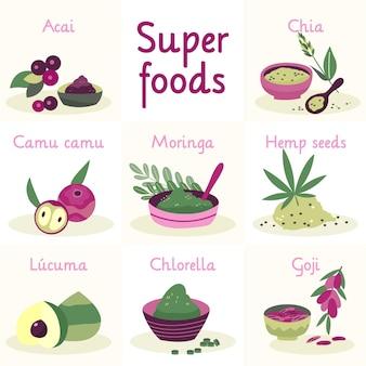 Raccolta di illustrazioni di superfood