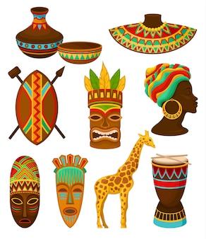 Raccolta di simboli dell'africa, illustrazioni su uno sfondo bianco.