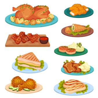 Raccolta di gustosi piatti di pollame, carne di pollo fritto, cotolette, sandwich servito su piatti illustrazione su uno sfondo bianco