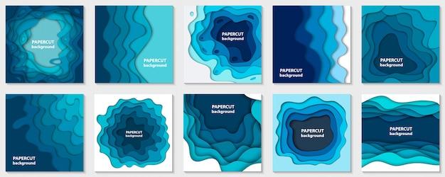 Raccolta di dieci sfondi con carta blu tagliata