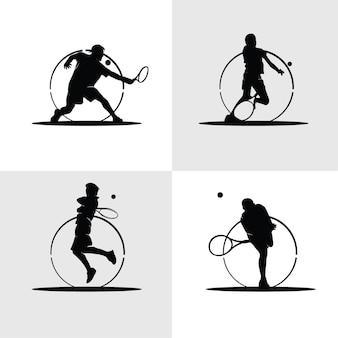 Raccolta di silhouette di giocatore di tennis