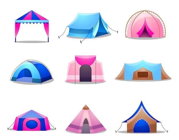 Collezione di tende per campeggio nella natura e per feste all'aperto. set di varie tende da campeggio e tendone.