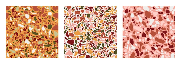 Collezione di pavimenti in terrazzo senza cuciture nei colori verde, terracotta, rosa e giallo. sfondo vettoriale del pavimento italiano in stile veneziano. texture di granito in uno stile alla moda.