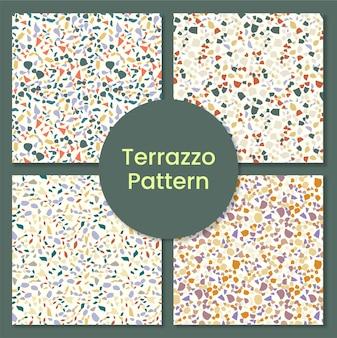 Collezione di pattern terrazzo con forme astratte