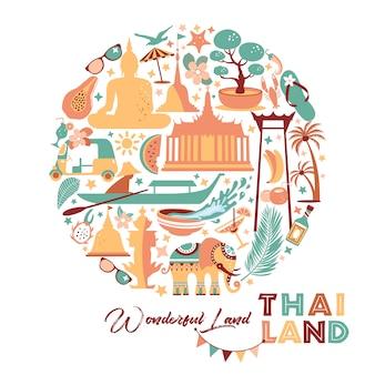 Raccolta di simboli thailandia in cerchio. illustrazione di viaggio. banner web di viaggio nella composizione del cerchio.
