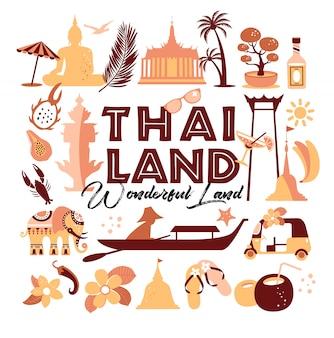 Raccolta di simboli della thailandia. illustrazione di viaggio.