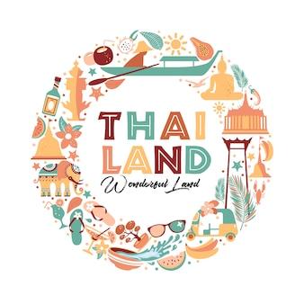Raccolta di simboli thailandia in corona. illustrazione di viaggio. banner web di viaggio nella composizione del cerchio.
