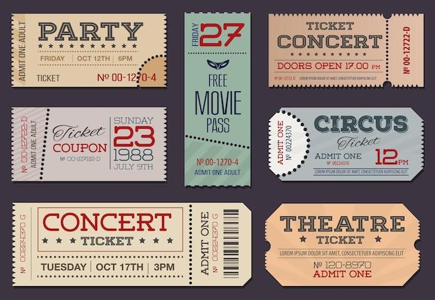 Collezione di biglietti e coupon per teatro e cinema