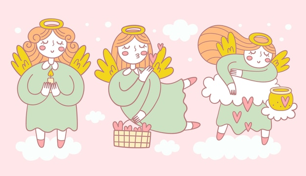 Raccolta di tre graziosi angeli in diverse pose