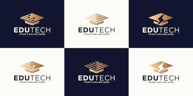 Collezione di ispirazione per il design del logo del cappello toga, laurea, università e istruzione