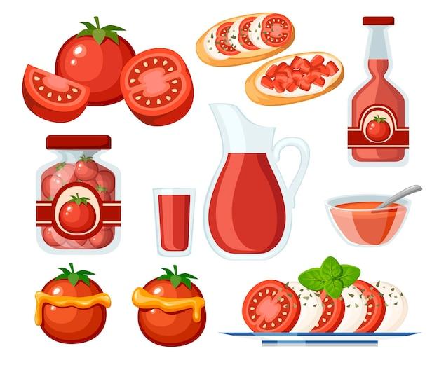 Raccolta di prodotti a base di pomodoro e piatti di pomodori freschi e cotti illustrazione piatta