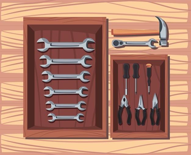 Collezione di strumenti per la costruzione su tavola di legno