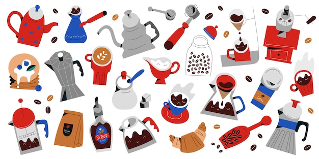 Collezione di strumenti e utensili per fare il caffè, illustrazioni isolate