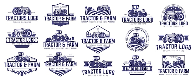 Raccolta del logo di trattore e fattoria