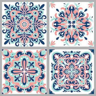 Collezione tradizionali piastrelle portoghesi ornate azulejos. ornamento popolare etnico.