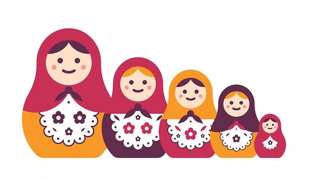 Raccolta delle bambole di incastramento artigianali pieghe popolari russe tradizionali isolate. fascio di matrioska di diverse dimensioni. popolare souvenir turistico. illustrazione piatta dei cartoni animati.