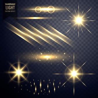 Raccolta di lenti trasparenti razzi effetto di luce con stelle scintillanti