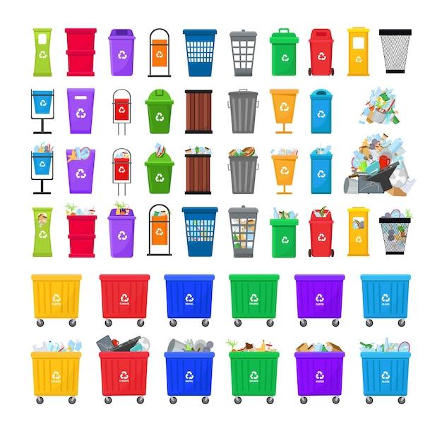 Raccolta di bidoni e contenitori della spazzatura