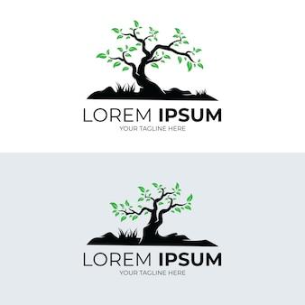 Raccolta di disegno del modello di logo di albero